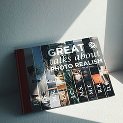 Book 'Great Talks about Photo Realism' leaning against a wall